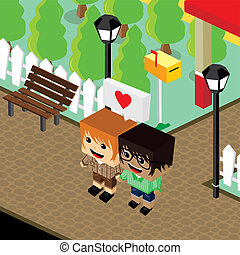 cartoon life couple lover isometric theme - cartoon life...