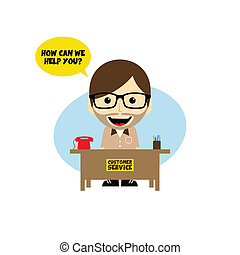 customer service desk cartoon character theme vector art...