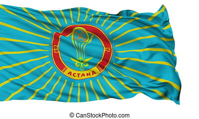 Astana City Isolated Waving Flag - Astana Capital City Flag...