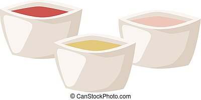 Various spices bowl vector illustration.