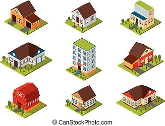 Isometric house vector illustration. - Modern homes and...