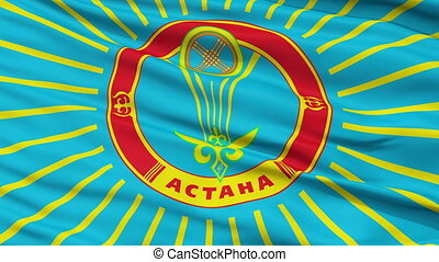 Astana City Close Up Waving Flag - Astana Capital City Flag...