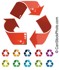 Recycle icon illustration on white background