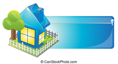 Blue house - Internet homepage symbol - detailed icon of...
