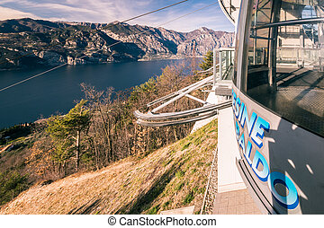 Cabin of a cableway stop at the top station. - Cabin of a...