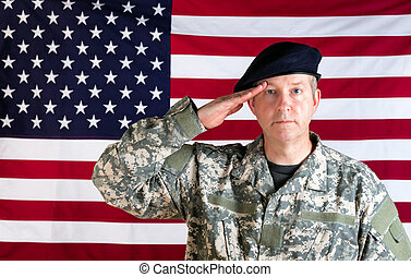 Veteran solider saluting with USA flag in background -...