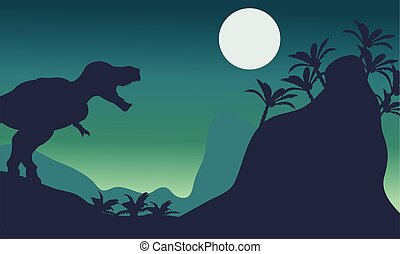 Beautiful scenery tyrannosaurus at the night