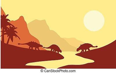 ankylosaurus, silueta, mañana