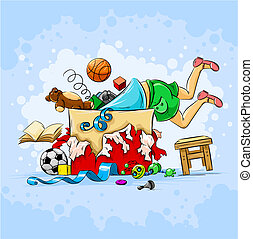small boy in box full of toys illustration
