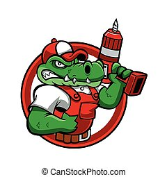 Cartoon angry crocodile mascot.handyman cartoon.