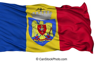 Bucharest City Isolated Waving Flag - Bucharest Capital City...