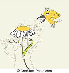 Flower with bird