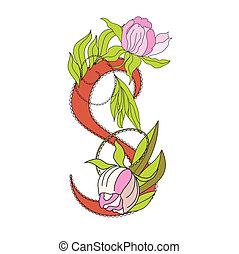 Floral font 2. Letter S