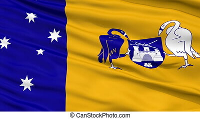 Canberra City Close Up Waving Flag - Canberra Capital City...