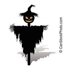 vector halloween scarecrow with pumpkin