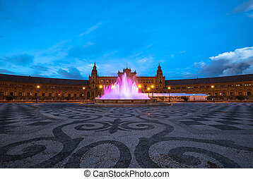 Square of Spain Seville - The spectacular and illuminated...