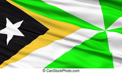 Dili City Close Up Waving Flag - Dili Capital City Flag of...