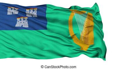 Dublin City Isolated Waving Flag