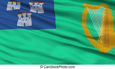 Dublin City Close Up Waving Flag - Dublin Capital City Flag...