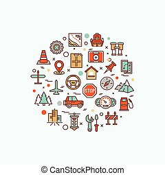 Air travel, resort vacation, tour planning, recreational rest, holiday trip line flat symbols. Modern infographic vector logo pictogram concept