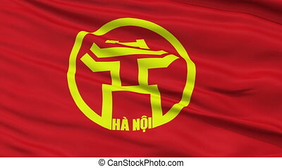 Hanoi City Close Up Waving Flag - Hanoi Capital City Flag of...