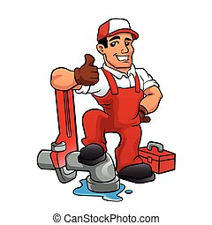 Cartoon plumber holding a big wrench..vector illustration