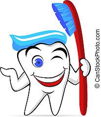 vetorial, dente, personagem