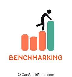 Benchmarking concept logo, vector icon about benchmark