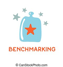 Benchmarking concept logo. Benchmark under a glass cover,...