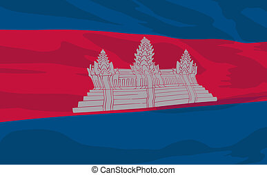 Vector flag of Cambodia