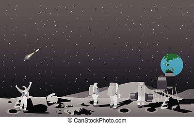 Moon space station vector illustration. Astronauts landing...