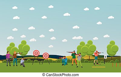 Vector set of sport shooting banner. Competition games. People in shoot positions