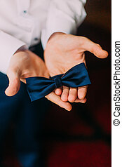 Close-up of man's hands holding a bow-tie