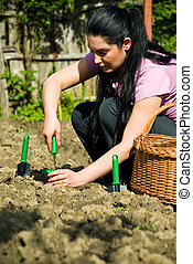 mujer, trabajando, jardín, Utilizar, herramientas