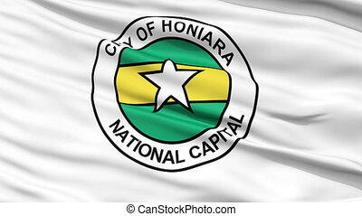 Honiara City Close Up Waving Flag - Honiara Capital City...