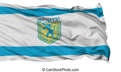 Jerusalem City Isolated Waving Flag - Jerusalem Capital City...