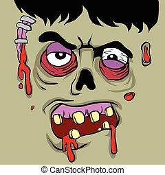 Cartoon Zombie face.zombie illustration?