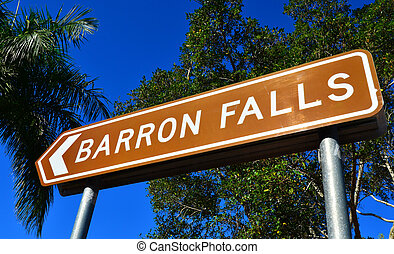 Barron Falls sign Queensland Australia - Direction sign to...