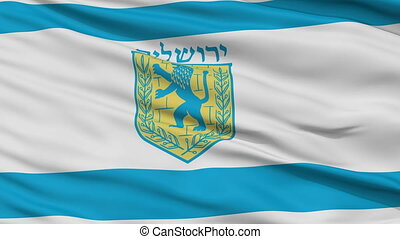Jerusalem City Close Up Waving Flag - Jerusalem Capital City...