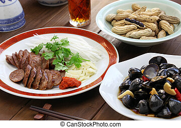 taiwanese food appetizer - taiwanese pork sausage, marinated...