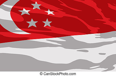 Vector flag of Singapour