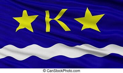Kinshasa City Close Up Waving Flag - Kinshasa Capital City...