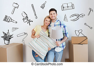 happy couple with stuff moving to new home - home, people,...