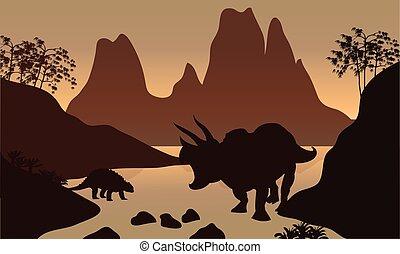 silueta, de, ankylosaurus, en, río,