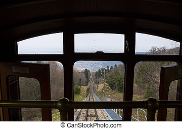 View to Heidelberg city from funicular