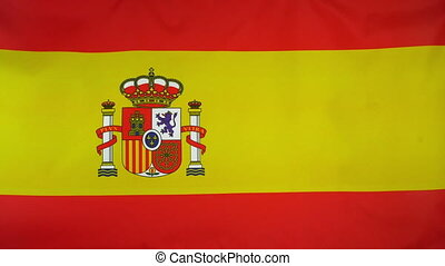 Spain Flag real fabric Close up - Textile flag of Spain with...