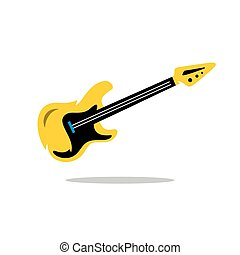 Vector Electric Guitar Cartoon Illustration - Beautiful...