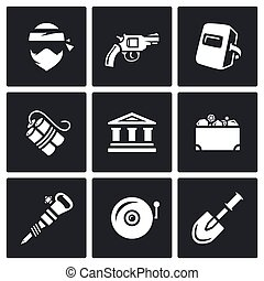 Vector Set of Bank Robbery Icons. Thief, Weapon, Welder,...