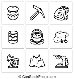 Vector Set of Geology Icons. Geologist, Instrument, Journey,...