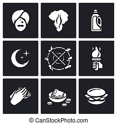 Vector Set of Fire Show Icons Fakir, Flame, Fuel, Night,...